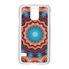 Blue Feather Mandala Samsung Galaxy S5 Case (white) by designworld65