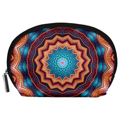 Blue Feather Mandala Accessory Pouches (Large)
