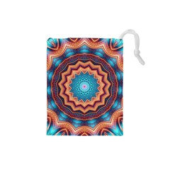 Blue Feather Mandala Drawstring Pouches (Small)