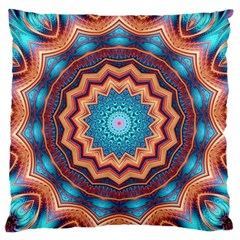 Blue Feather Mandala Standard Flano Cushion Case (Two Sides)