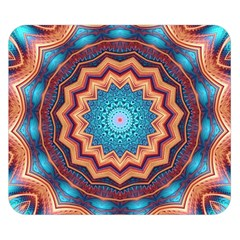 Blue Feather Mandala Double Sided Flano Blanket (small)  by designworld65