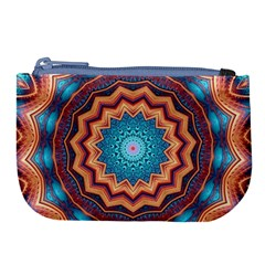 Blue Feather Mandala Large Coin Purse