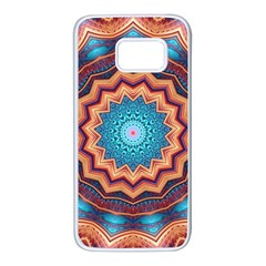Blue Feather Mandala Samsung Galaxy S7 White Seamless Case