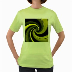 Blue Gold Dragon Spiral Women s Green T Shirt