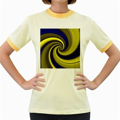 Blue Gold Dragon Spiral Women s Fitted Ringer T Shirts