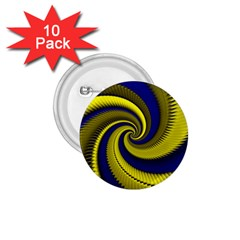 Blue Gold Dragon Spiral 1 75  Buttons (10 Pack)