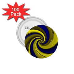 Blue Gold Dragon Spiral 1 75  Buttons (100 Pack)