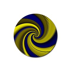 Blue Gold Dragon Spiral Rubber Round Coaster (4 Pack)  by designworld65