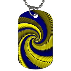 Blue Gold Dragon Spiral Dog Tag (one Side)