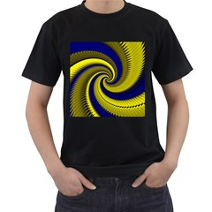 Blue Gold Dragon Spiral Men s T Shirt (black) (two Sided)