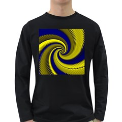 Blue Gold Dragon Spiral Long Sleeve Dark T Shirts