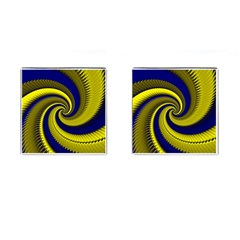 Blue Gold Dragon Spiral Cufflinks (square) by designworld65