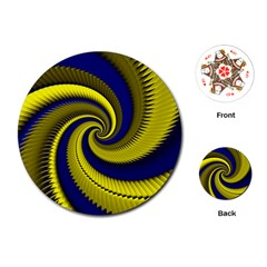 Blue Gold Dragon Spiral Playing Cards (round)