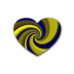 Blue Gold Dragon Spiral Rubber Coaster (heart)