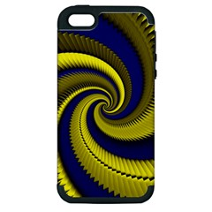 Blue Gold Dragon Spiral Apple Iphone 5 Hardshell Case (pc+silicone) by designworld65