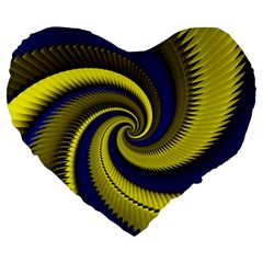 Blue Gold Dragon Spiral Large 19  Premium Heart Shape Cushions