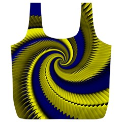 Blue Gold Dragon Spiral Full Print Recycle Bags (l)