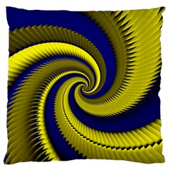 Blue Gold Dragon Spiral Large Flano Cushion Case (two Sides) by designworld65