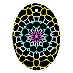 Colored Window Mandala Ornament (oval)