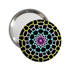 Colored Window Mandala 2 25  Handbag Mirrors