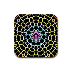 Colored Window Mandala Rubber Coaster (square)  by designworld65