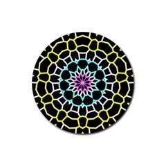 Colored Window Mandala Rubber Round Coaster (4 Pack)  by designworld65