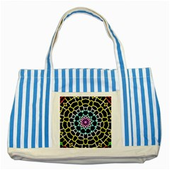 Colored Window Mandala Striped Blue Tote Bag