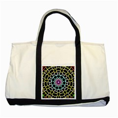 Colored Window Mandala Two Tone Tote Bag by designworld65
