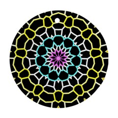 Colored Window Mandala Round Ornament (two Sides) by designworld65