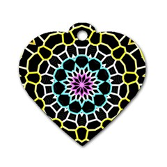 Colored Window Mandala Dog Tag Heart (one Side)