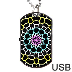 Colored Window Mandala Dog Tag Usb Flash (one Side)