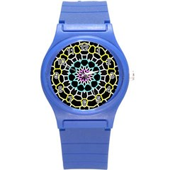 Colored Window Mandala Round Plastic Sport Watch (s) by designworld65