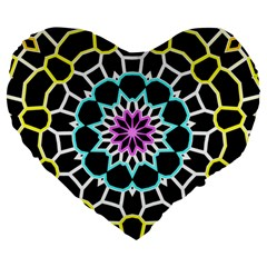 Colored Window Mandala Large 19  Premium Heart Shape Cushions by designworld65