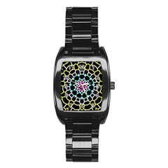 Colored Window Mandala Stainless Steel Barrel Watch by designworld65