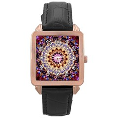 Dreamy Mandala Rose Gold Leather Watch  by designworld65