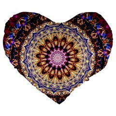 Dreamy Mandala Large 19  Premium Flano Heart Shape Cushions