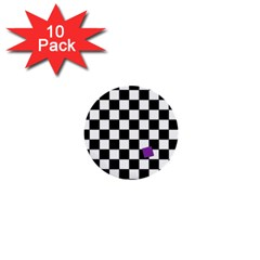 Dropout Purple Check 1  Mini Buttons (10 Pack)  by designworld65