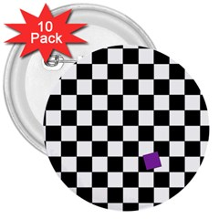 Dropout Purple Check 3  Buttons (10 Pack)  by designworld65