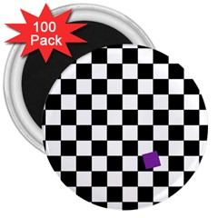 Dropout Purple Check 3  Magnets (100 Pack) by designworld65
