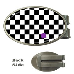 Dropout Purple Check Money Clips (oval)  by designworld65