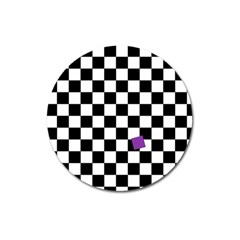 Dropout Purple Check Magnet 3  (round) by designworld65