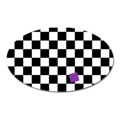 Dropout Purple Check Oval Magnet by designworld65