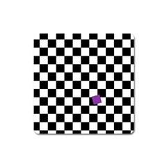 Dropout Purple Check Square Magnet