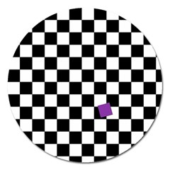 Dropout Purple Check Magnet 5  (round) by designworld65