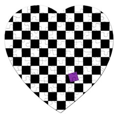 Dropout Purple Check Jigsaw Puzzle (heart) by designworld65