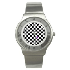 Dropout Purple Check Stainless Steel Watch by designworld65