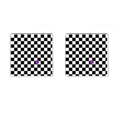Dropout Purple Check Cufflinks (square) by designworld65