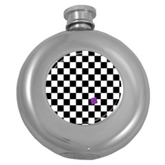 Dropout Purple Check Round Hip Flask (5 Oz) by designworld65