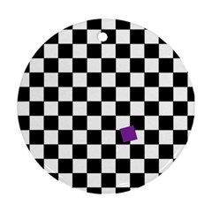 Dropout Purple Check Round Ornament (two Sides) by designworld65