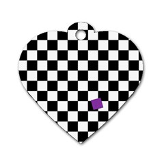 Dropout Purple Check Dog Tag Heart (one Side) by designworld65